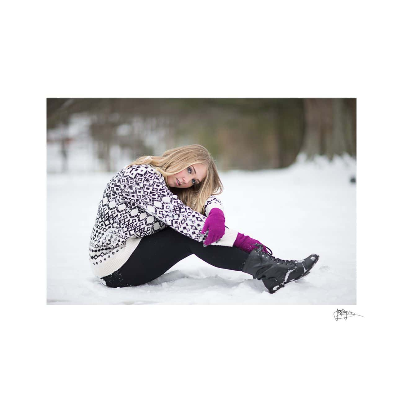 raleigh portrait photographer girl in snow