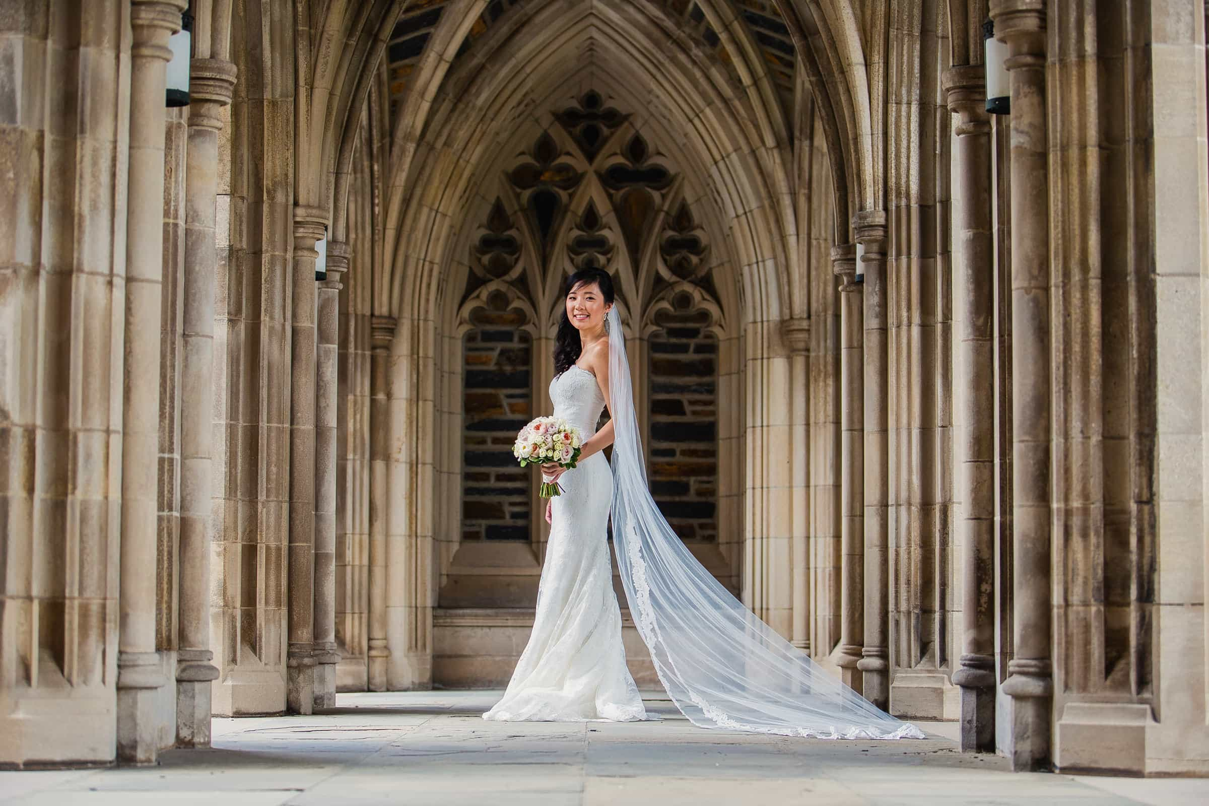 Duke Chapel Wedding Portfolio - Bride in Arcades