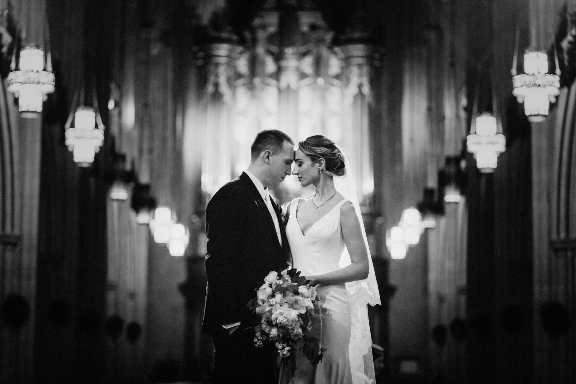Duke Chapel Wedding Photo B&W Couple Altar Back to Organ