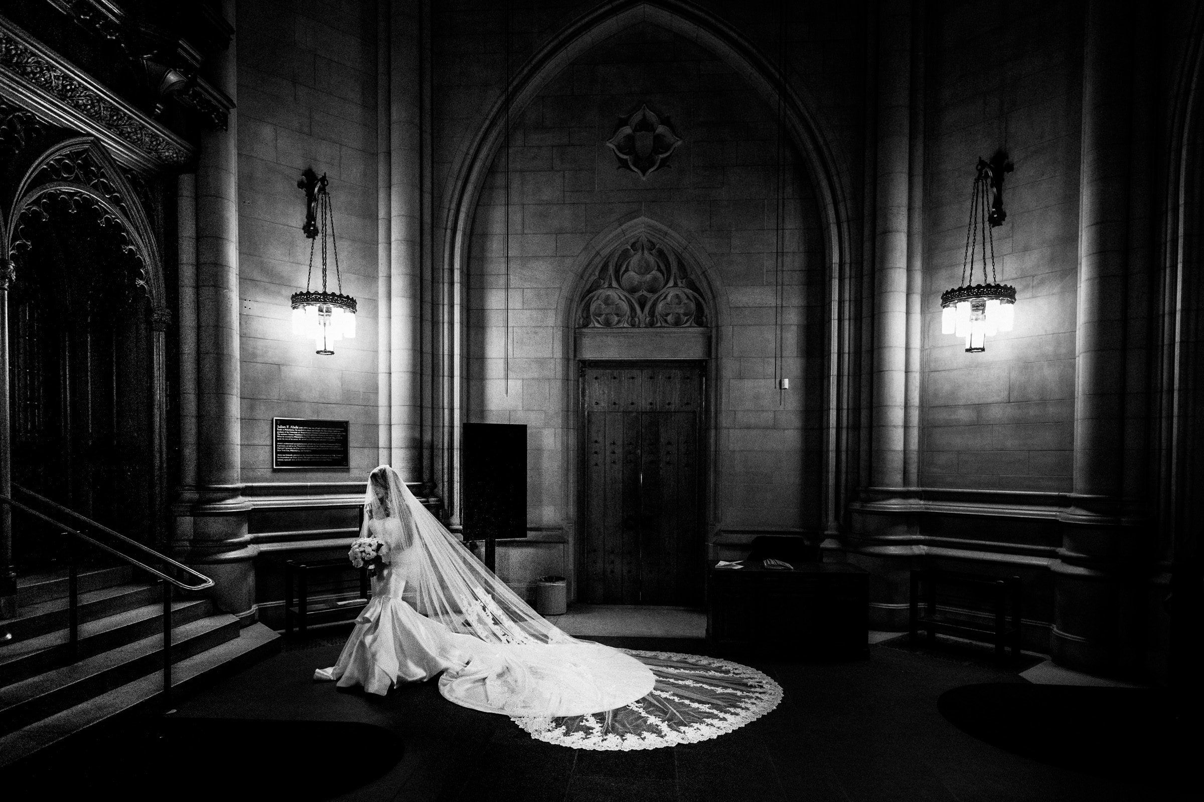 Duke Chapel Wedding - Bride in Narthex B&W