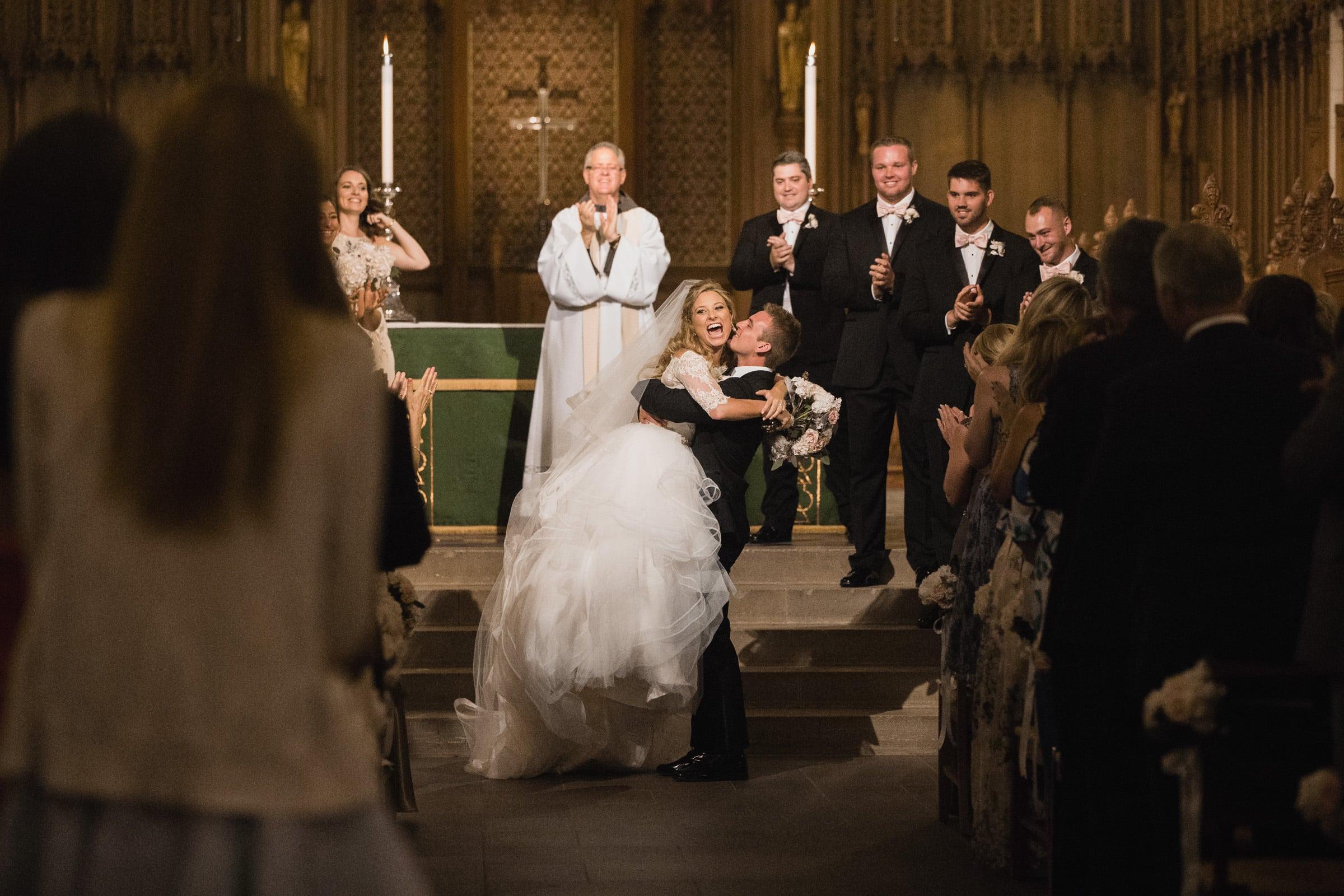 Duke Chapel Wedding Happy Bride & Groom Celebrate