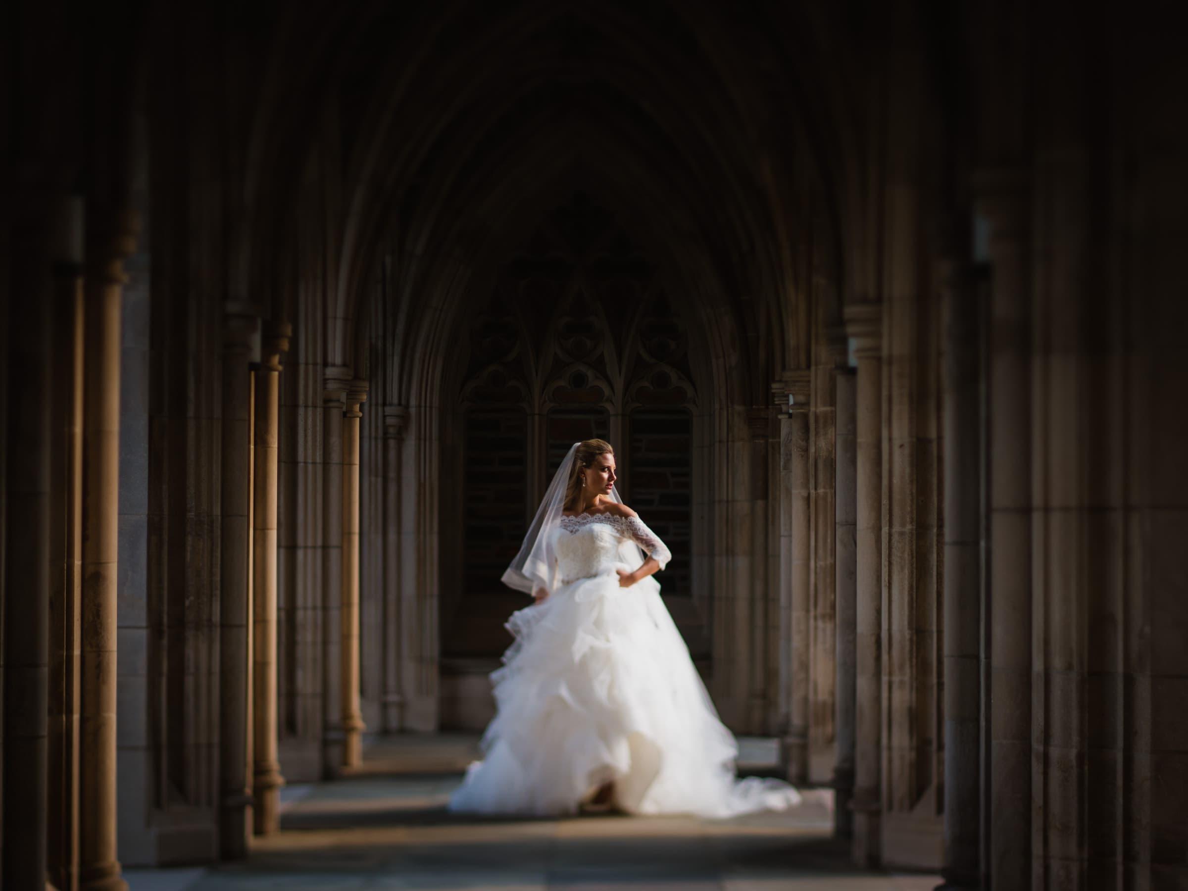 Duke Chapel Bride in Arcades Tilt Shift Lens by Joe Payne Photography