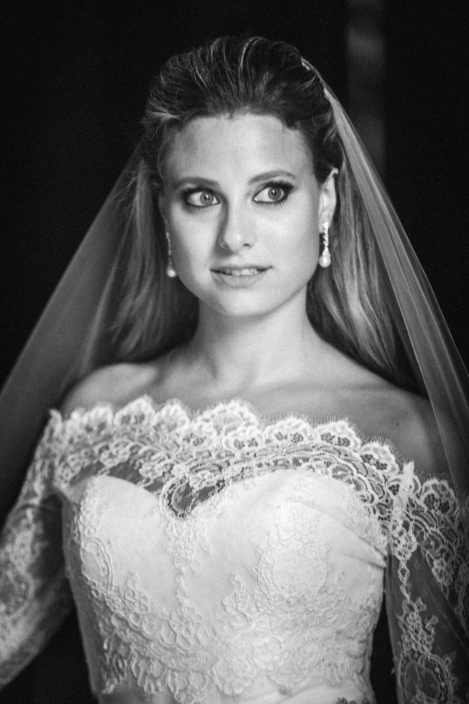 Duke Chapel Wedding - Bridal Photo B&W in Doorway Antique Lens