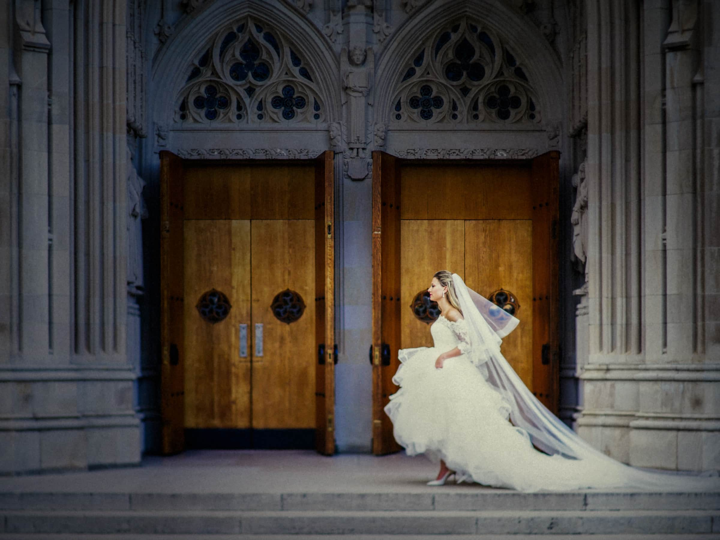 Duke Chapel Wedding Photo Bride Walking