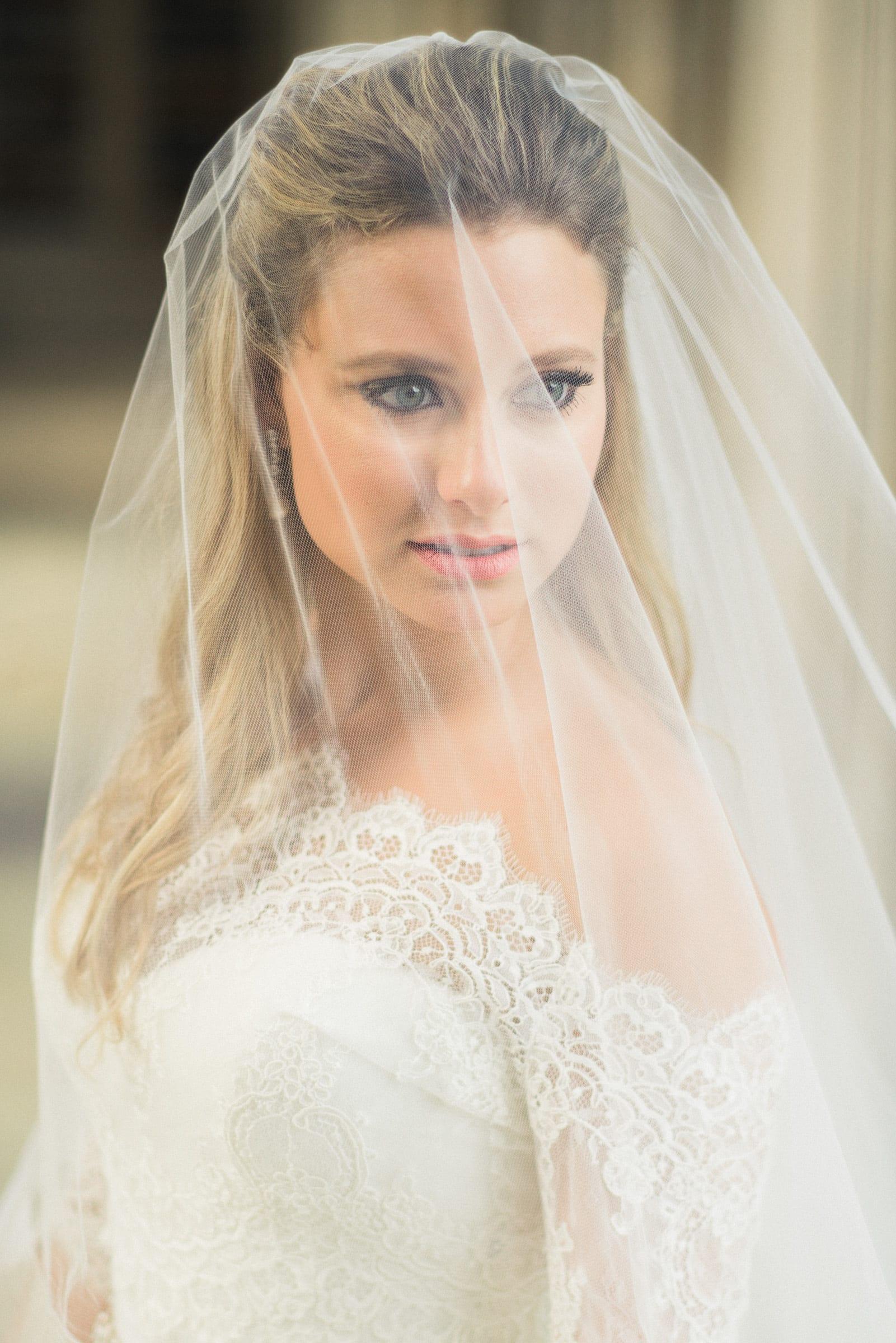 Duke Chapel Wedding Photo Veiled Bridal Portrait in Color by Joe Payne