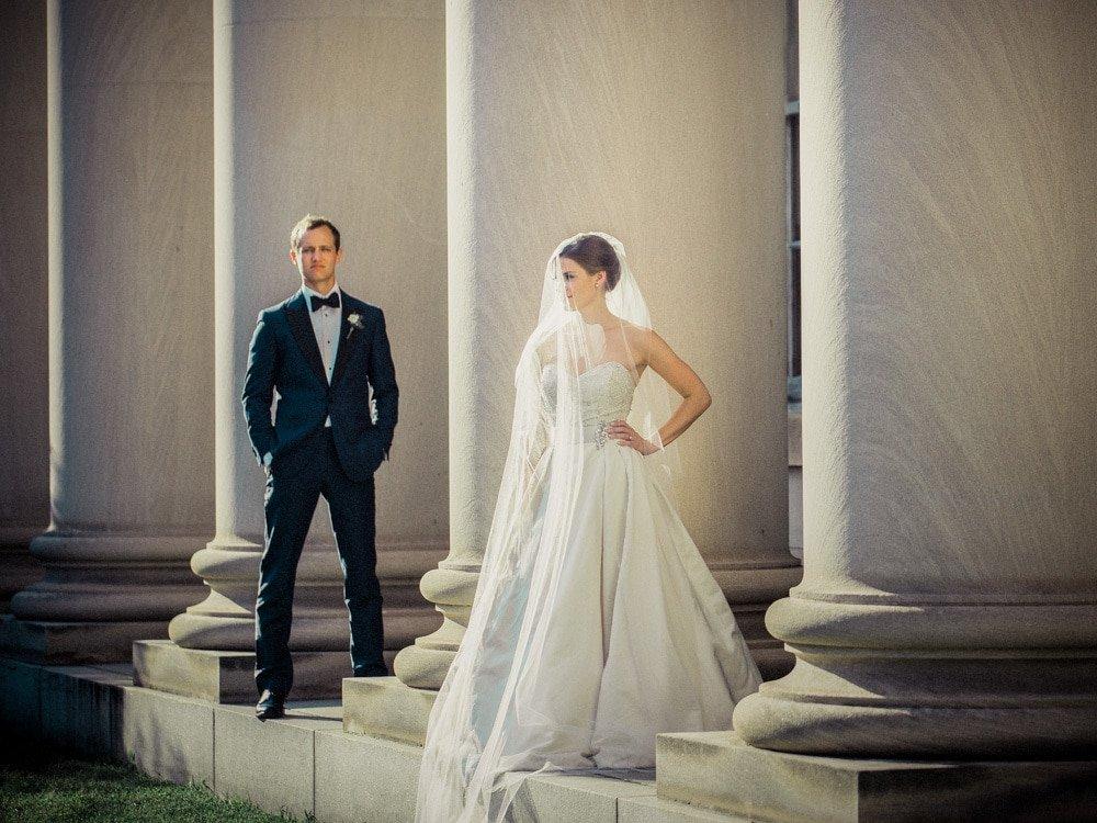 Durham Wedding Photographer - Bride & Groom Columns-2