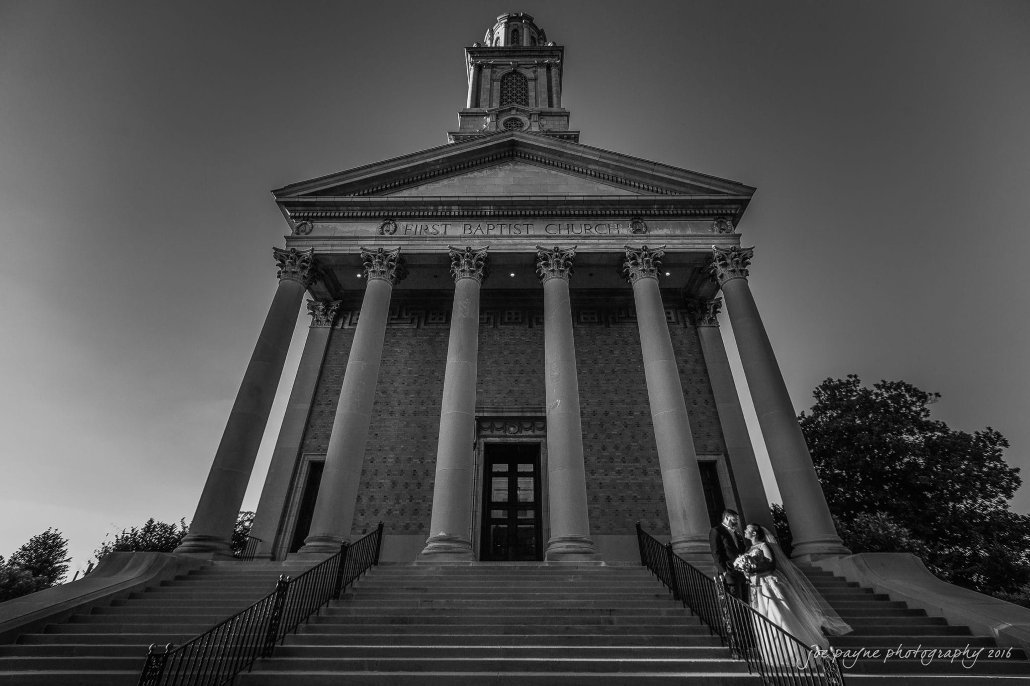 Toni & Kevin at the First Baprist Church in downtown Winston-Salem, NC. Such a beautiful place to get married! Congrats guys!
