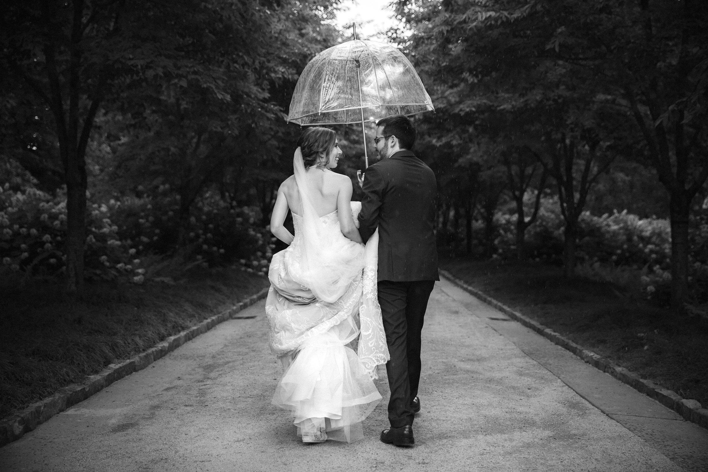 Duke Chapel Wedding Photography - Bride and Groom First Look at Duke Gardens B&W