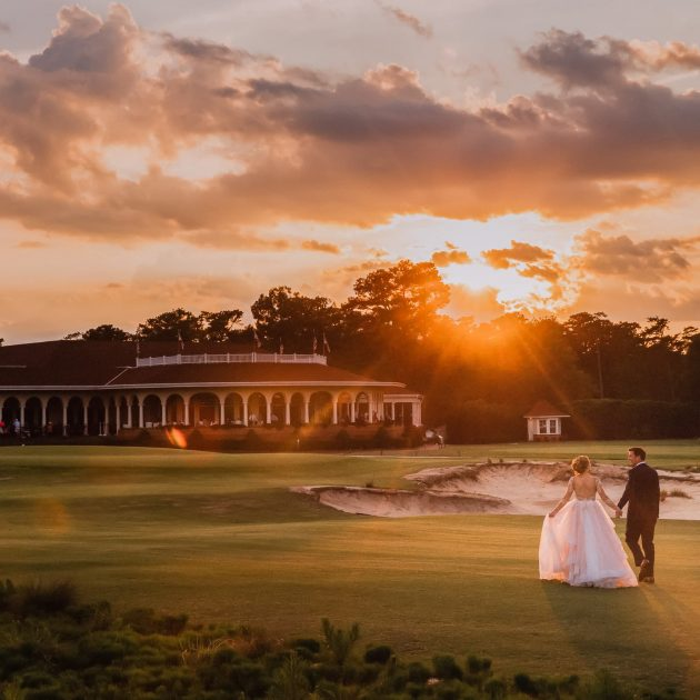 Pinehurst Resort Wedding - Portrait at Couple at Sunset on No. 2 course by NC wedding photographer Joe Payne