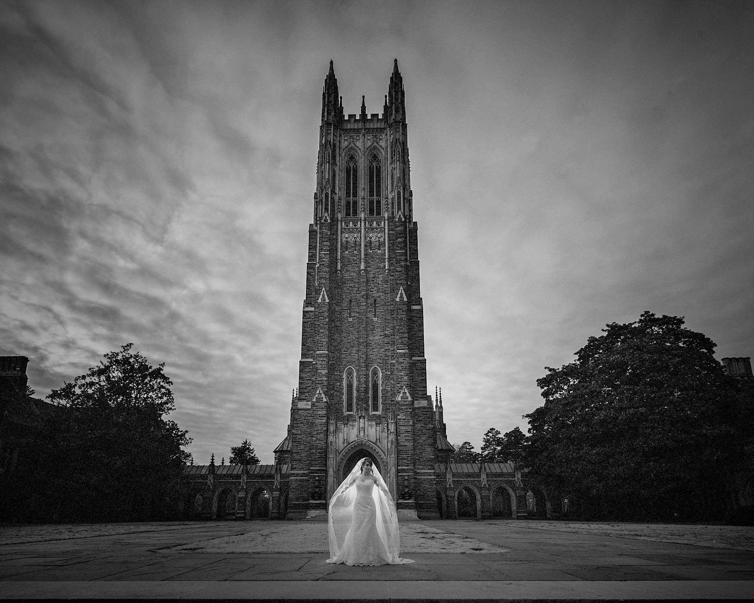Duke Chapel Wedding Photographer - Bridal B&W