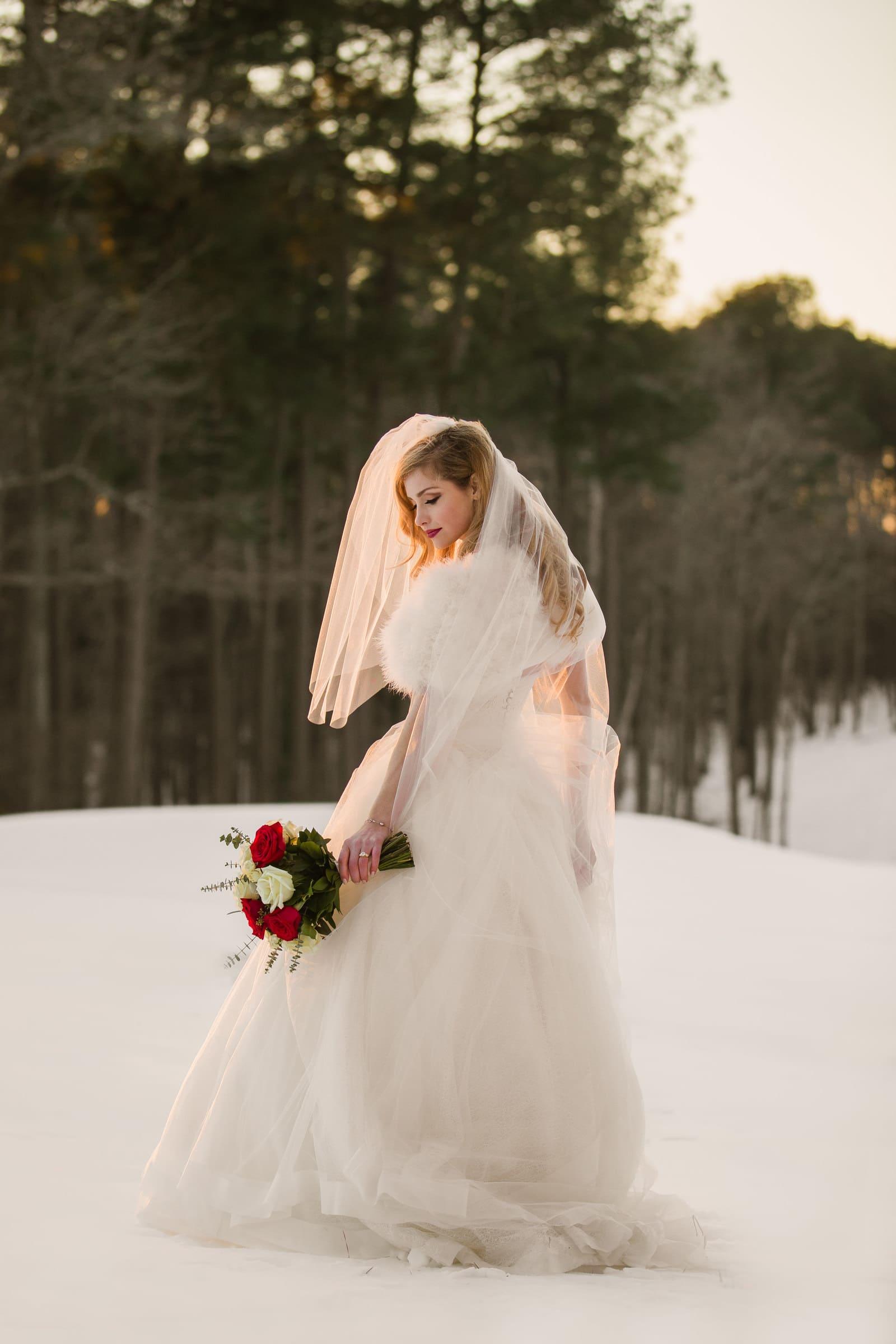 Duke Chapel Wedding Photography - Bridal Portrait in Snow by Joe Payne