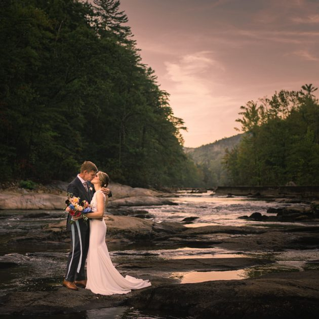 Couple Kissing at Sunset at Brown mountain Beach Resort by NC wedding photographer Joe Payne