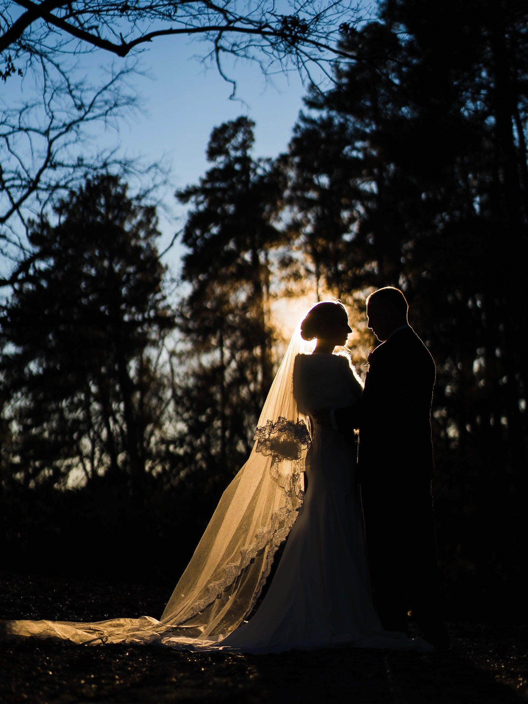 Duke Chapel Wedding Photography - Couple Silhouette at Duke Gardens First Look