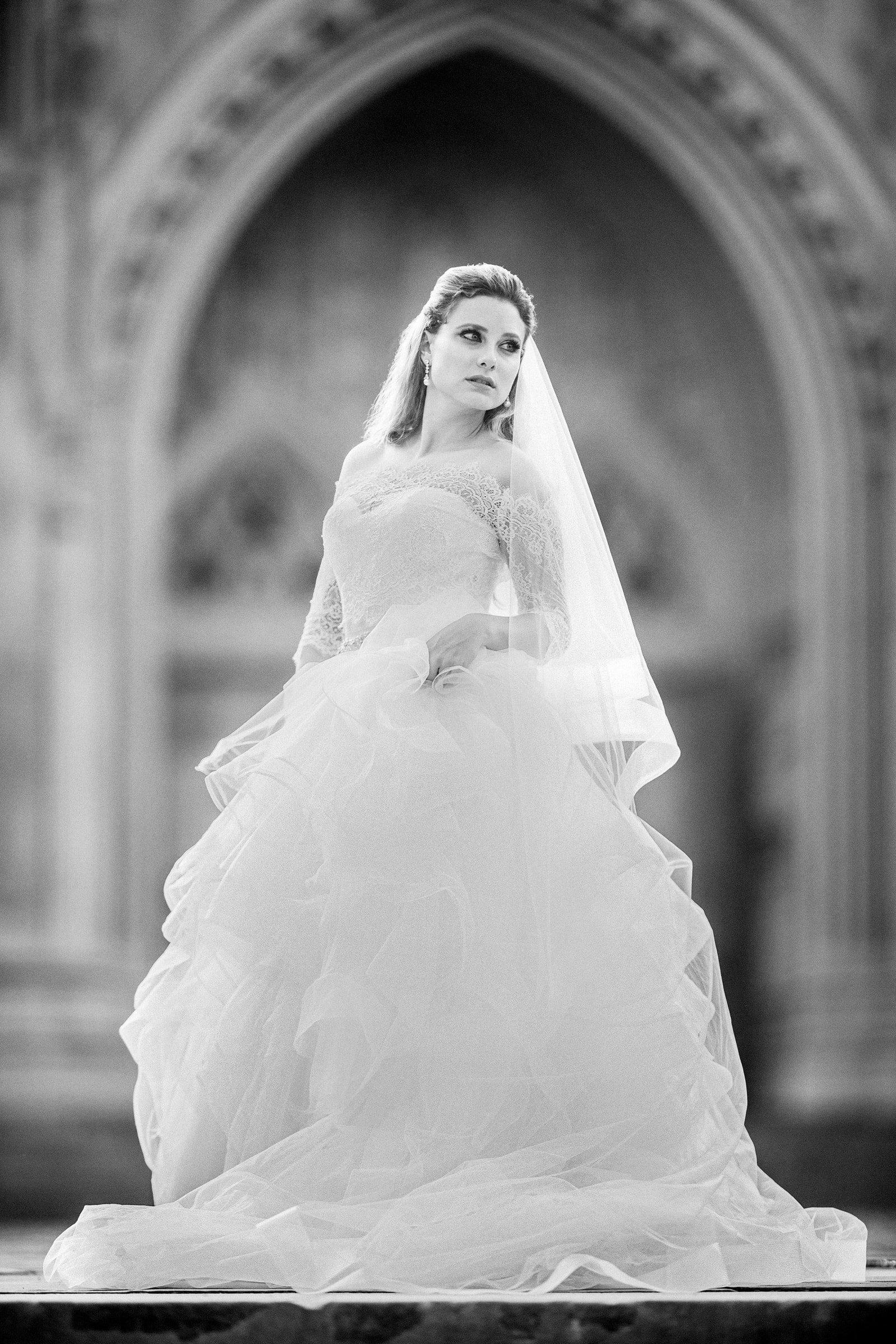 Beautiful Bride in B&W Duke Chapel Bridal Session Image by Joe Payne Photography