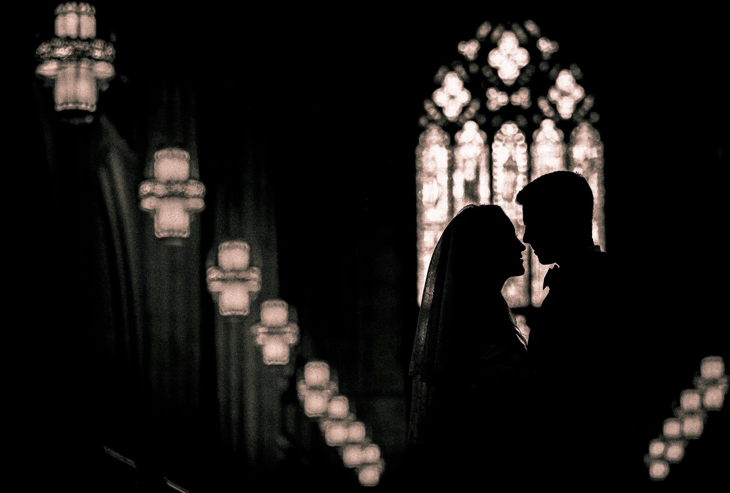 Duke Chapel Wedding Photography - Bride and Groom Silhouette by Joe Payne