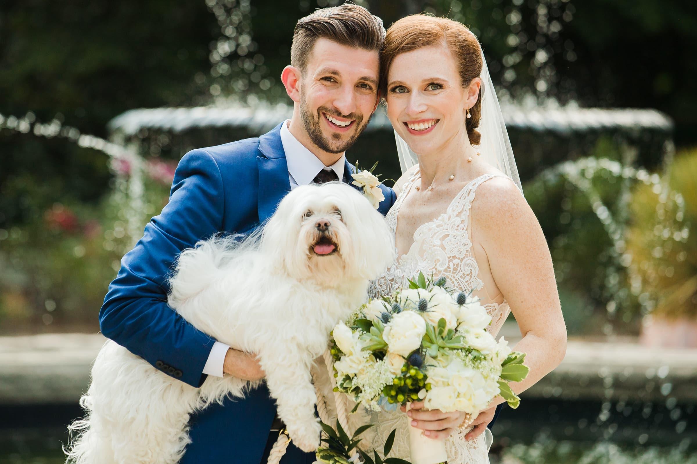 Duke Chapel Wedding Photography - Bride and Groom with dog at Duke Gardens