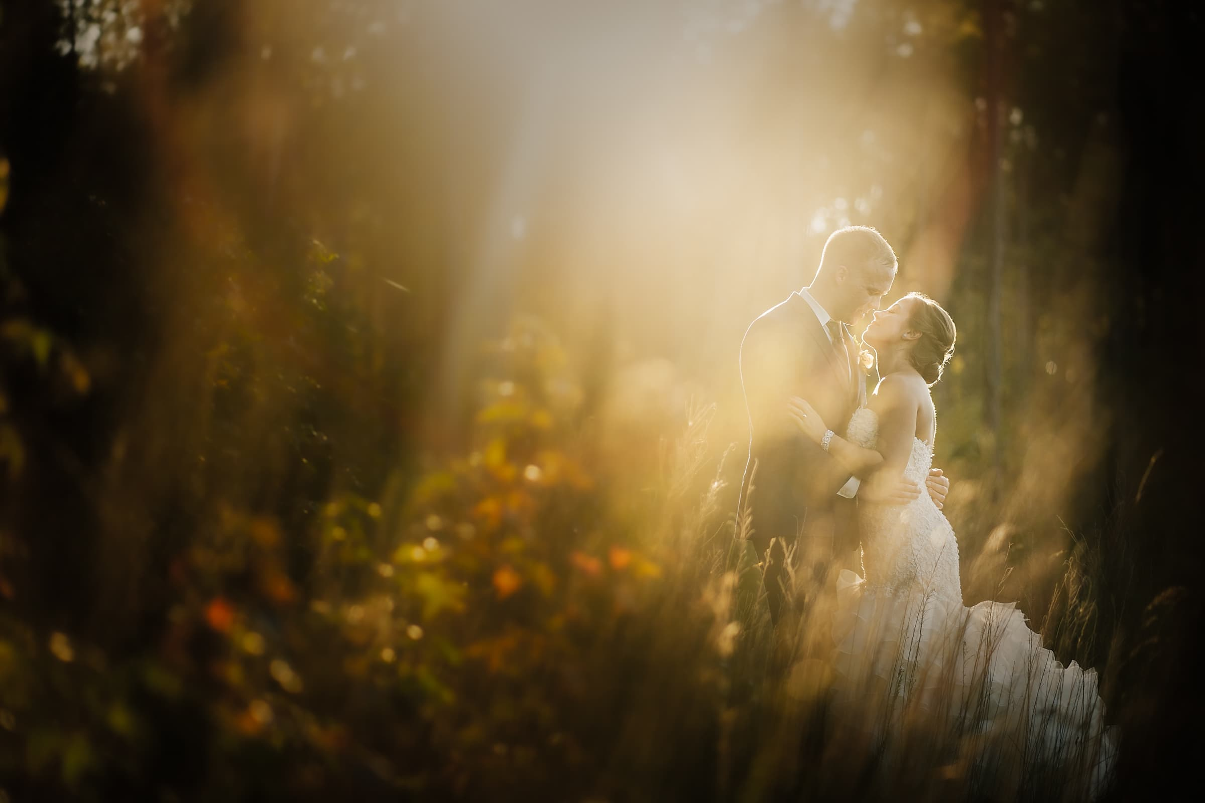 Pavilion at Carriage Farm Kissing Newlyweds at Golden Hour by Joe Payne Photography