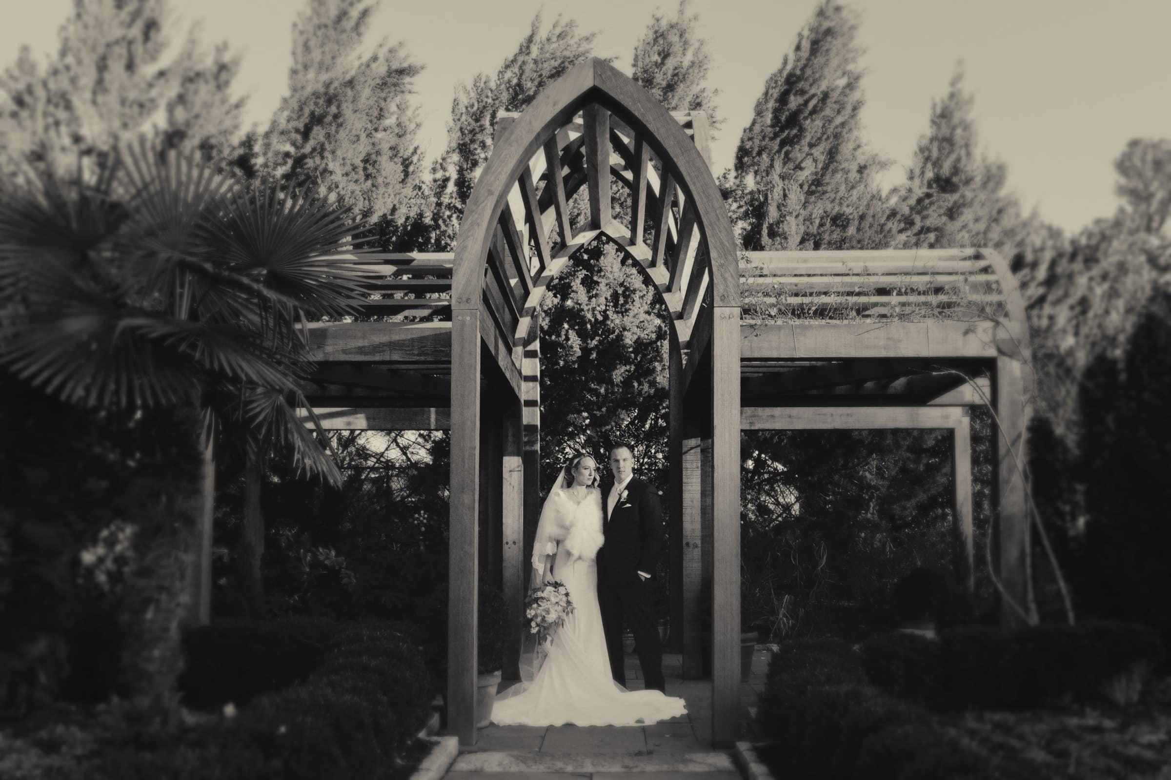 Duke Chapel Wedding Photography - First Look Photo at Duke Gardens B&W