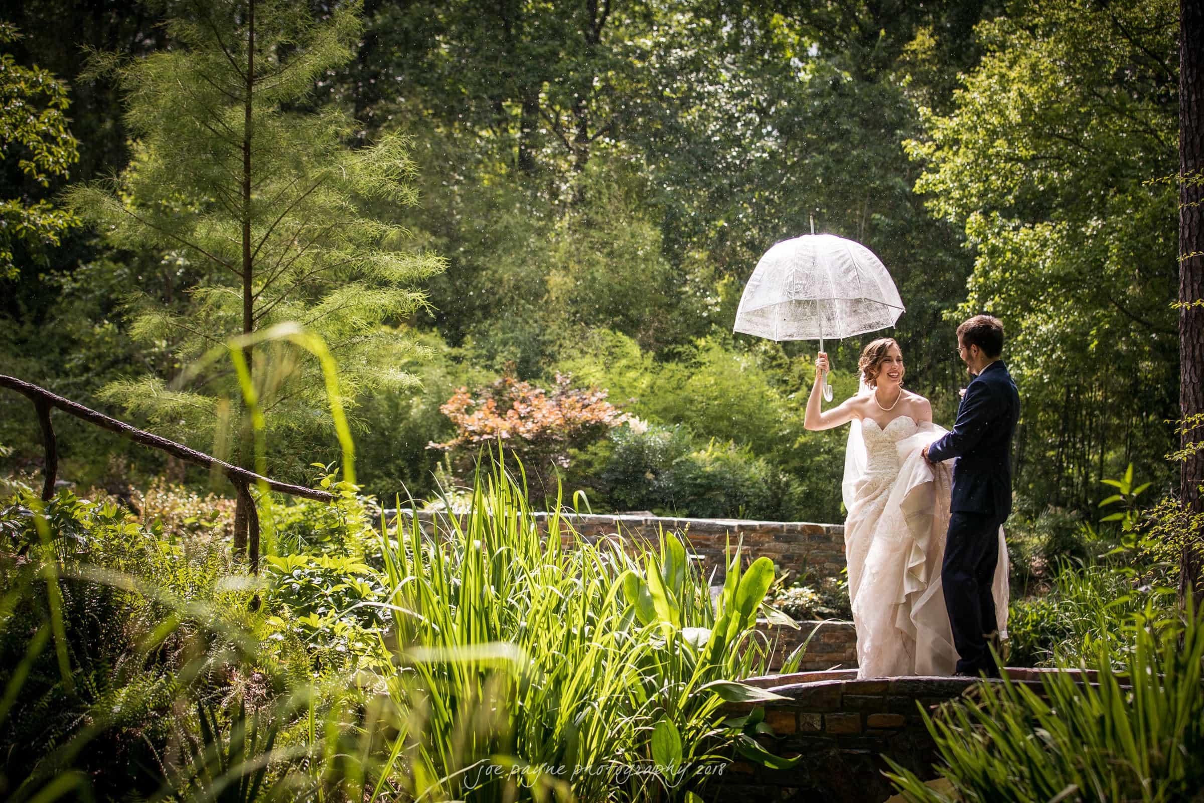 Duke-Gardens-Wedding-Couple-in-Rain-with-umbrella