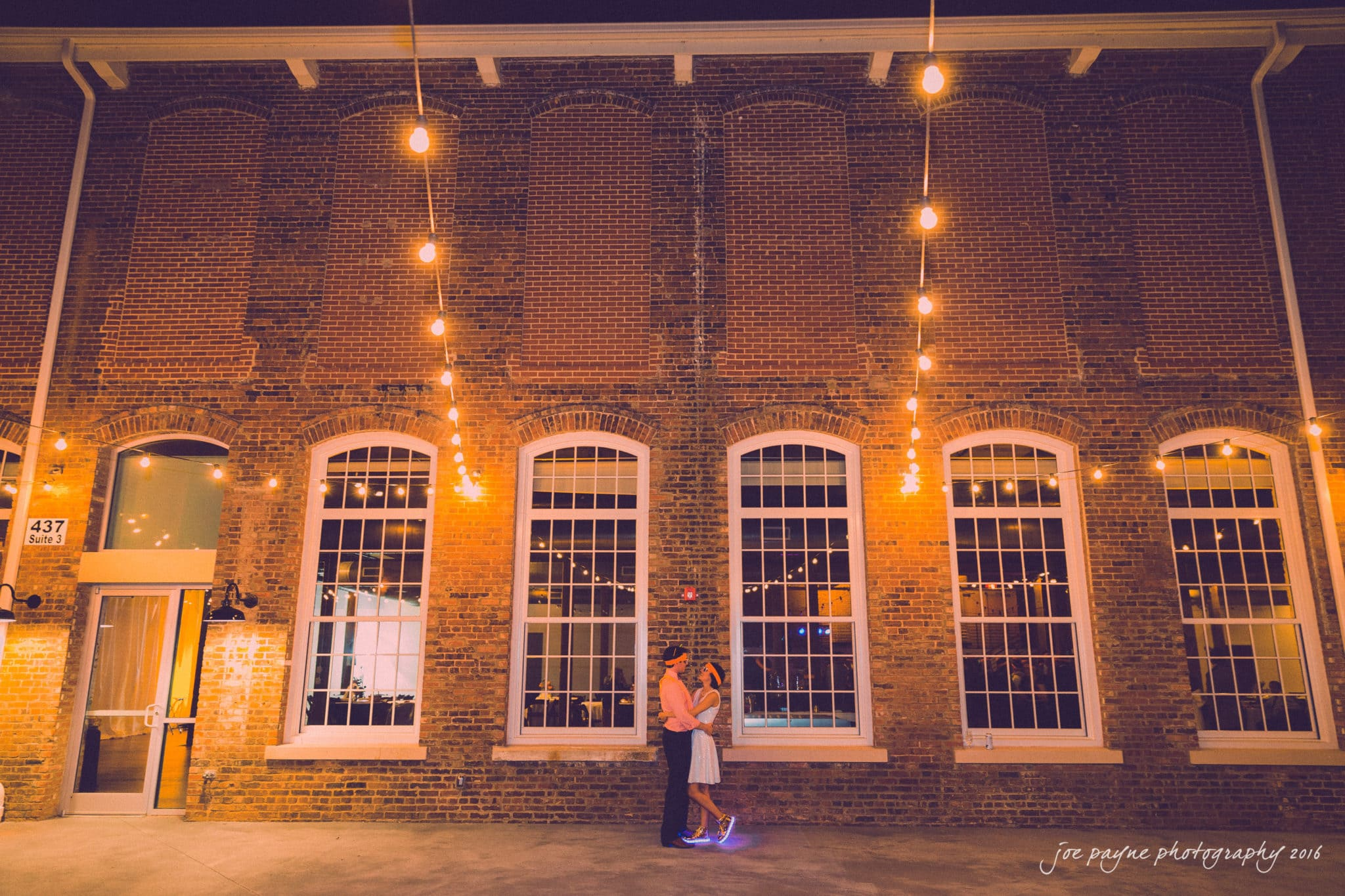 cloth mill at eno river wedding photographer - night time couple shot