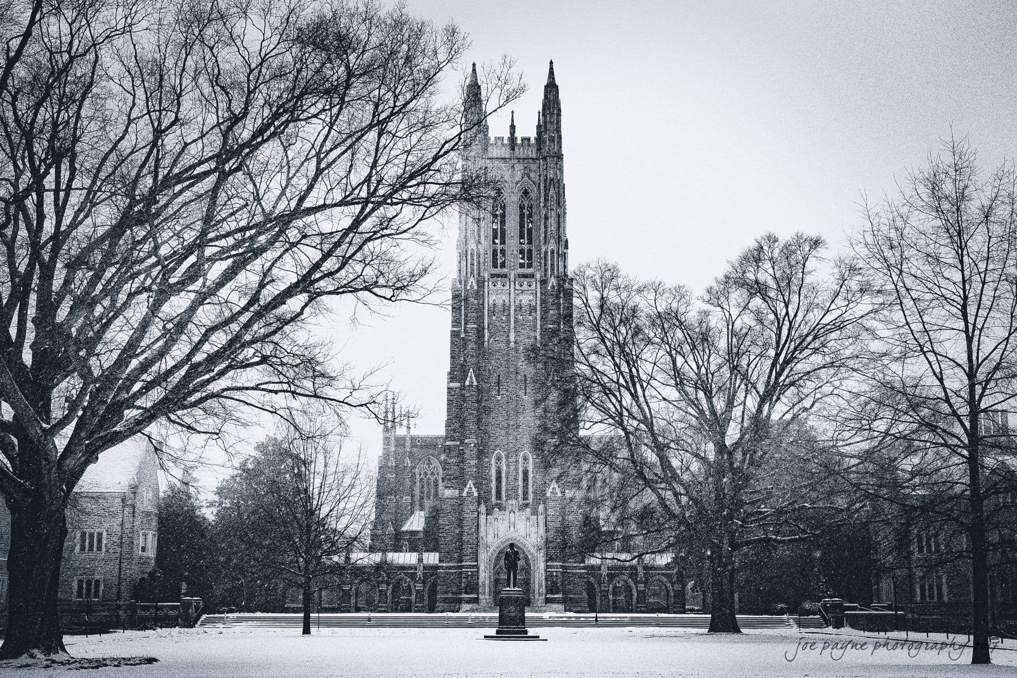 Snowy Duke chapel wedding photography - Duke Chapel in the snow