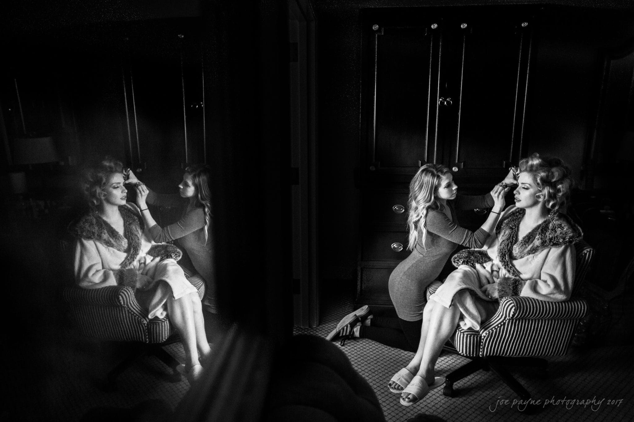 Washington Duke Wedding Prep - Bride with Makeup Artist B&W