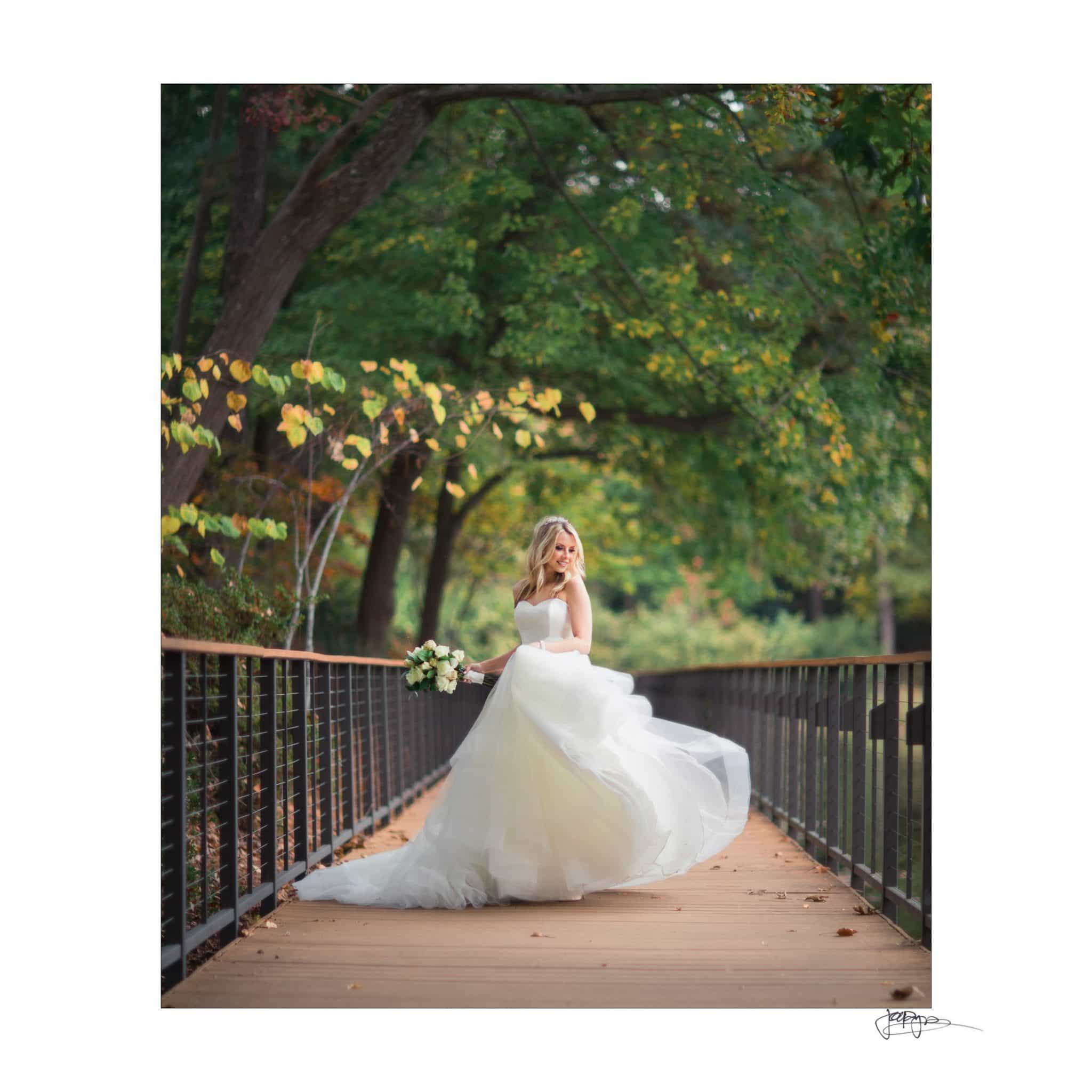 Umstead Hotel Wedding Photography Bride On Boardwalk