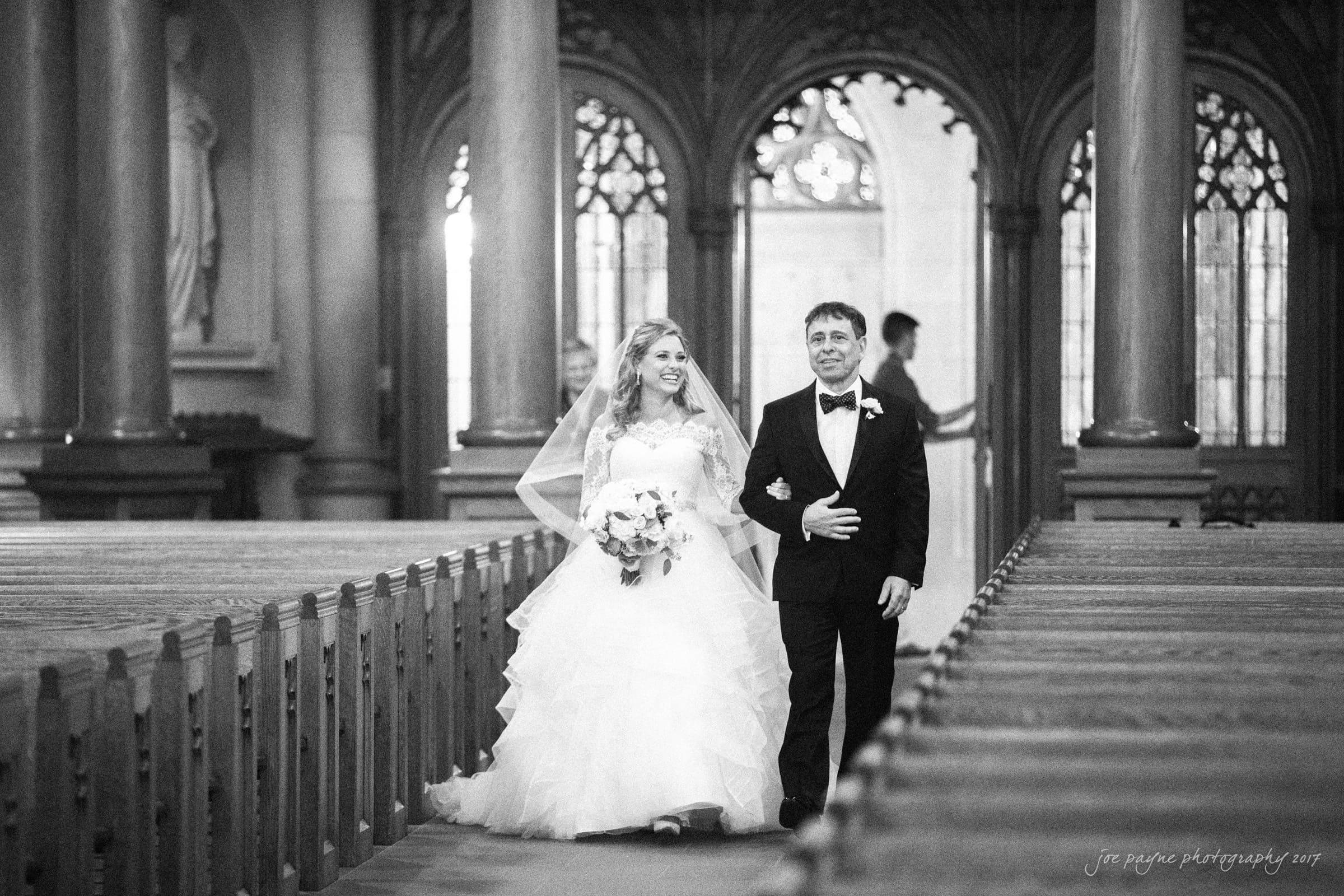 duke chapel wedding photos – Sara and her dad processional