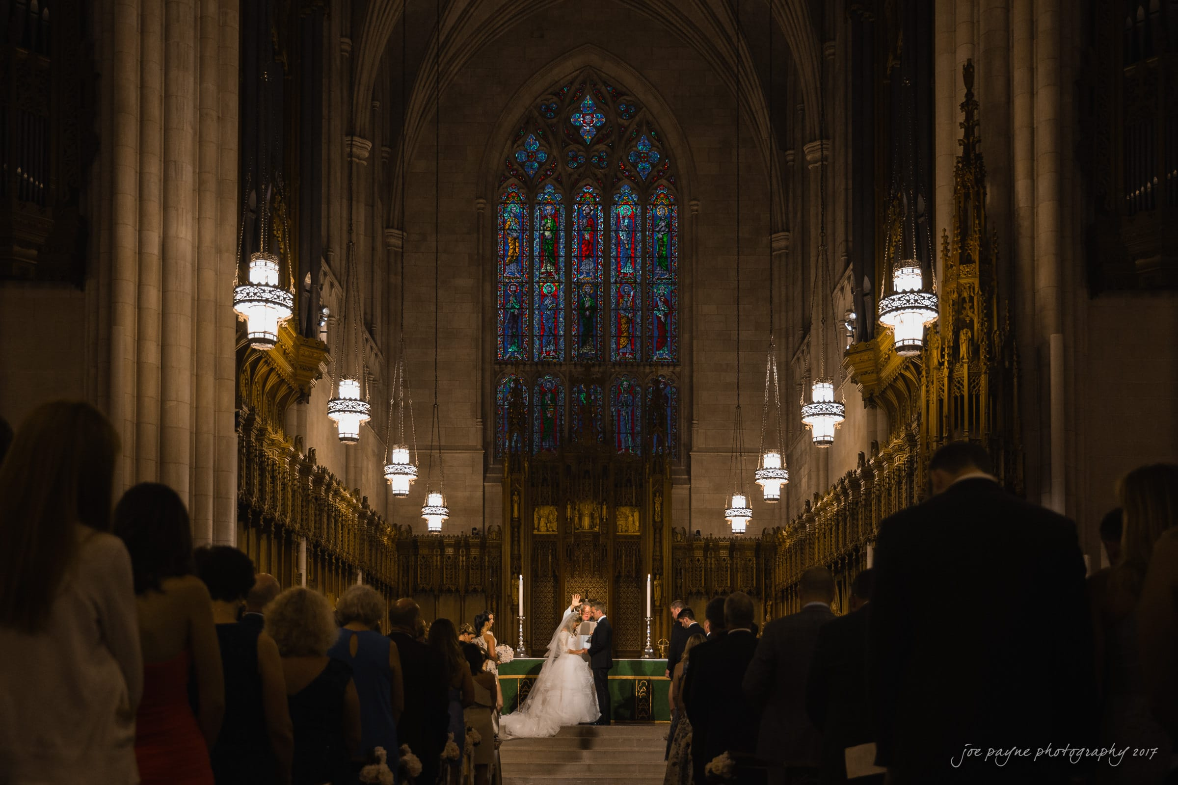 duke chapel weddings couple at altar