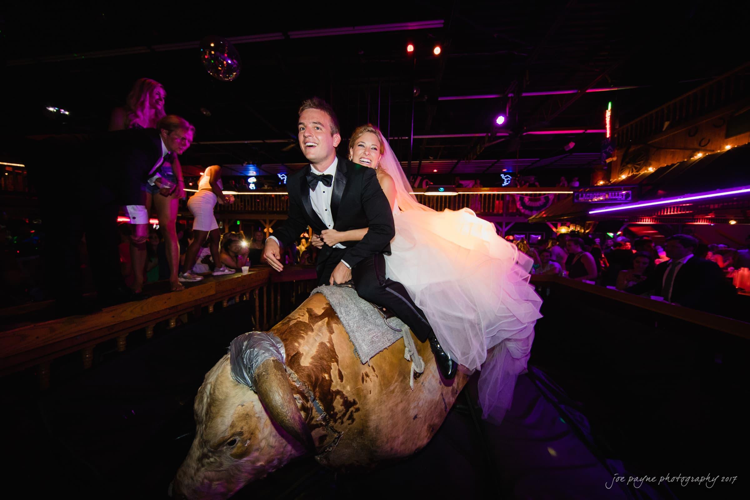 Shooters Durham NC wedding couple on mechanical bull
