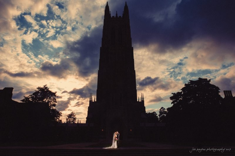 Duke Chapel Weddings - Bride and Groom against Chapel Silhouette