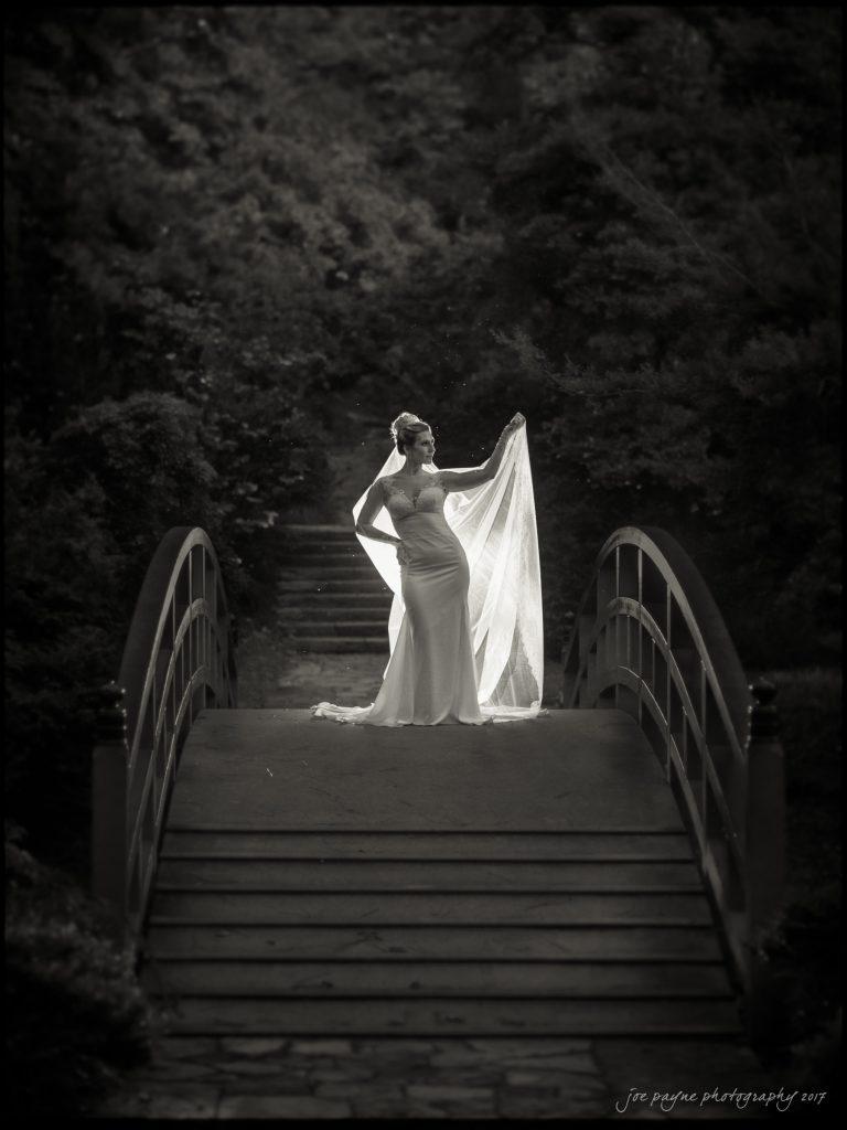 duke gardens wedding - backlit bride on bridge at night