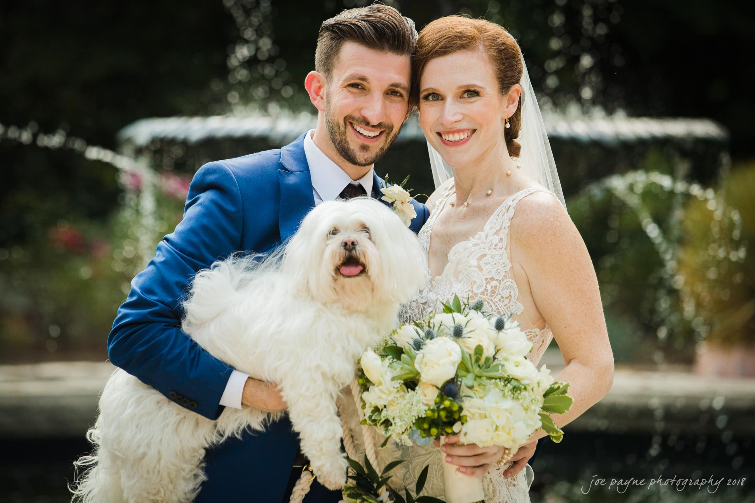Duke Gardens Wedding Photo - Bride and Groom and Dog at Roney Fountain