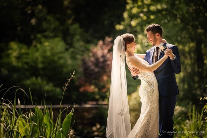 duke gardens wedding photograph - bride and groom first look at golden hour