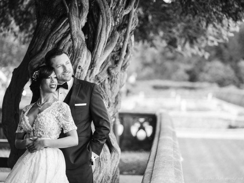 Biltmore estate wedding photographer - B&W couple first look
