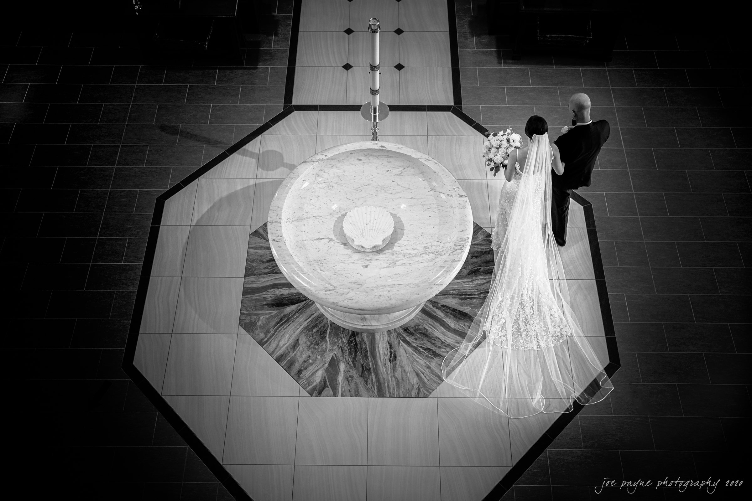 holy name of Jesus wedding bride's entrance in B&W