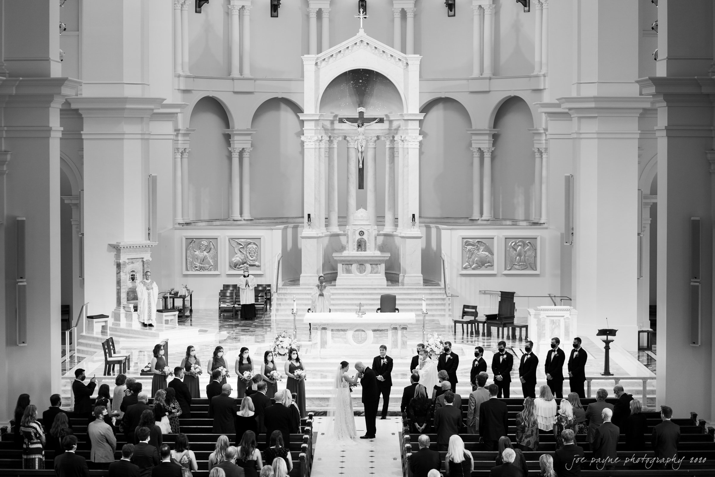 holy name of Jesus wedding - bride processional in B&W