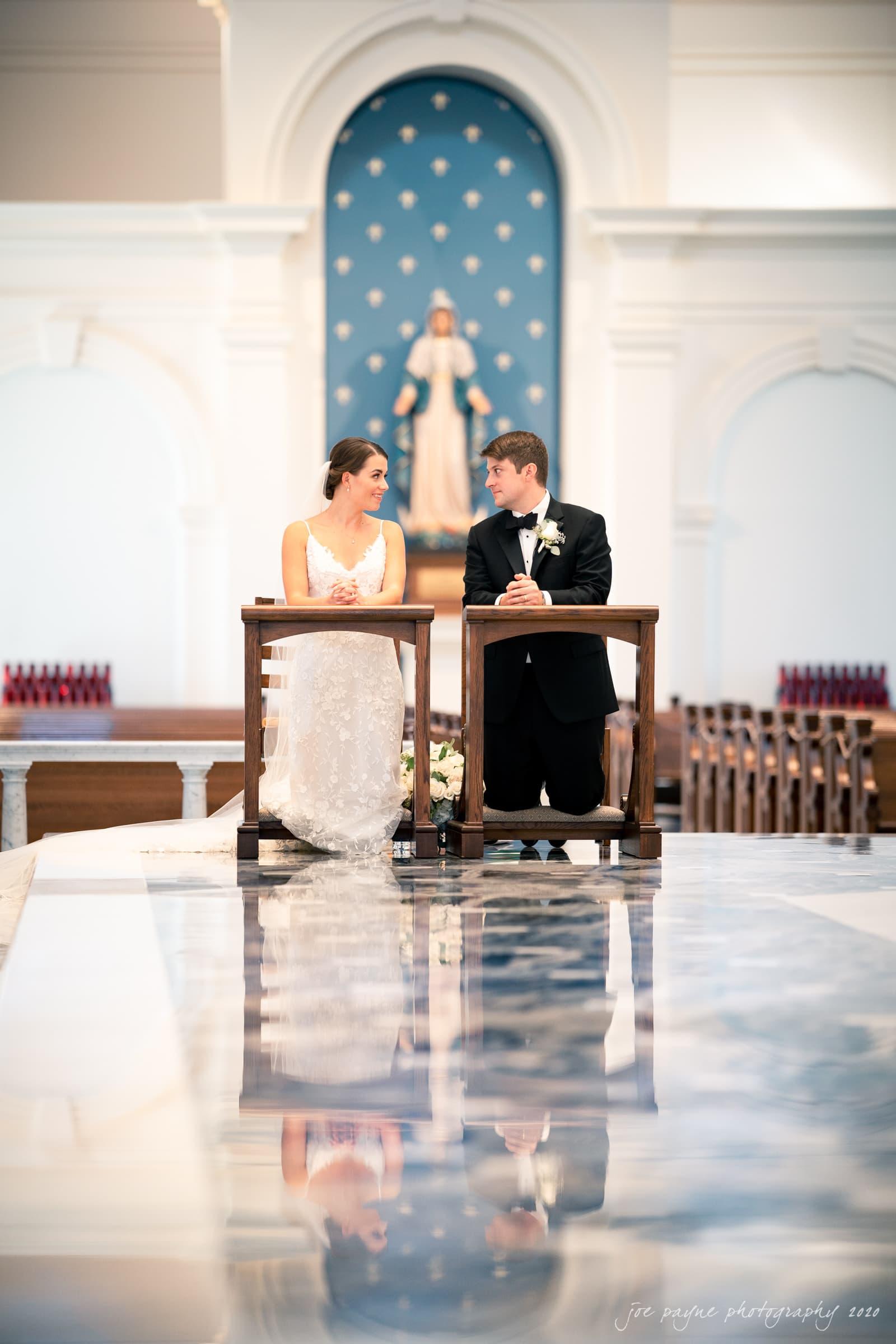 Holy Name of Jesus wedding - couple chatting