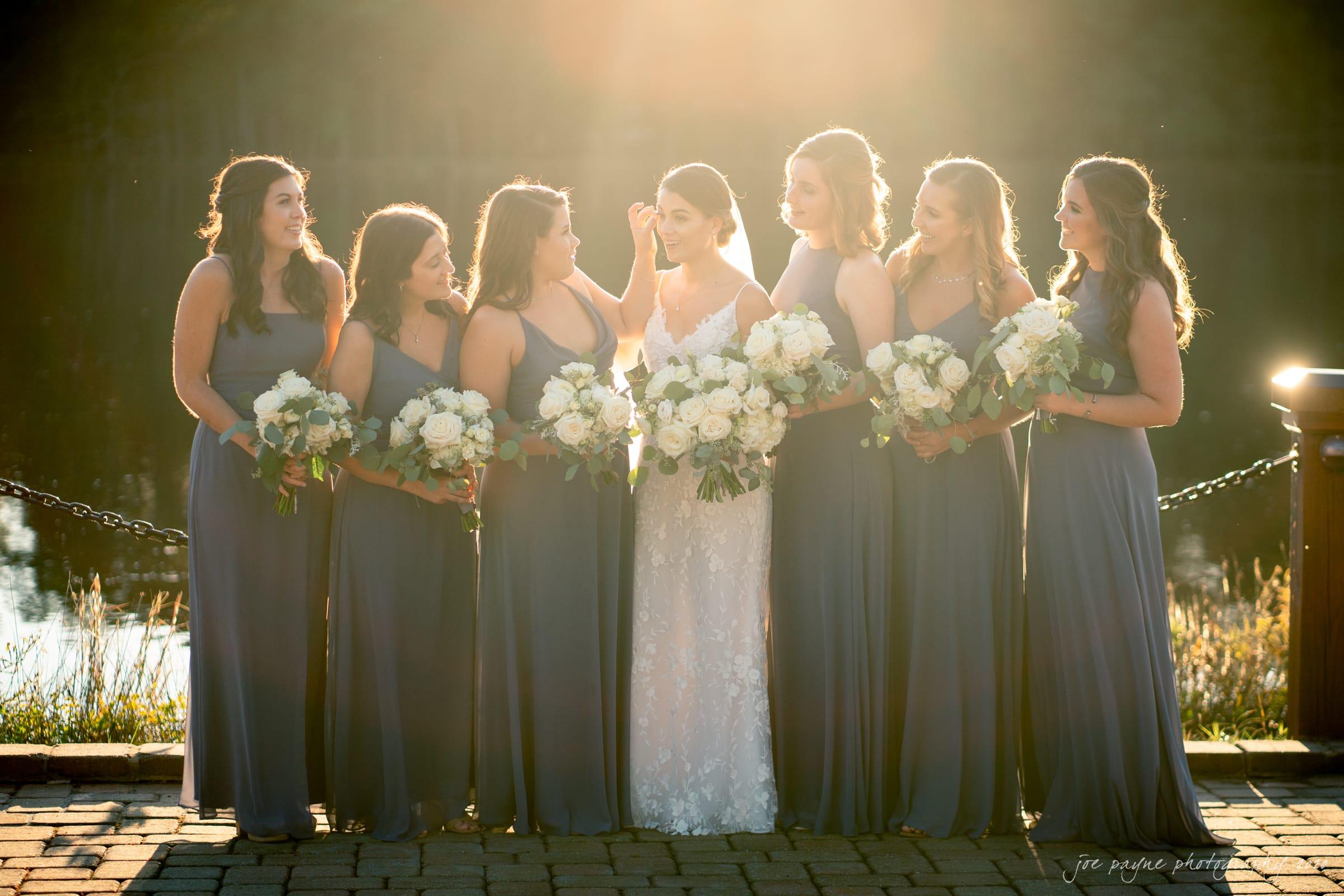 Pavilion at Angus Barn Wedding bridesmaids at sunset