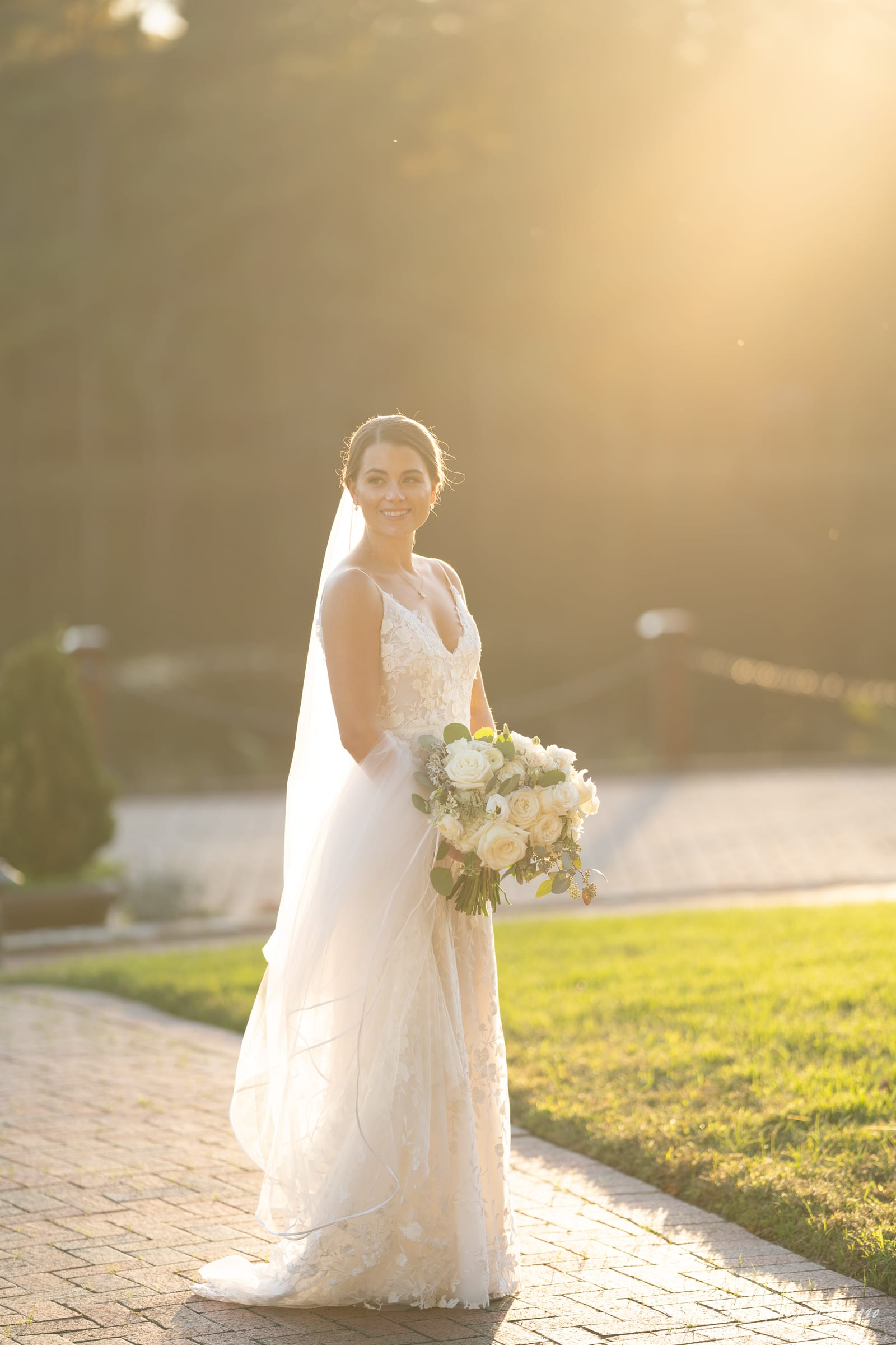 Pavilion at Angus Barn Wedding bride at sunset