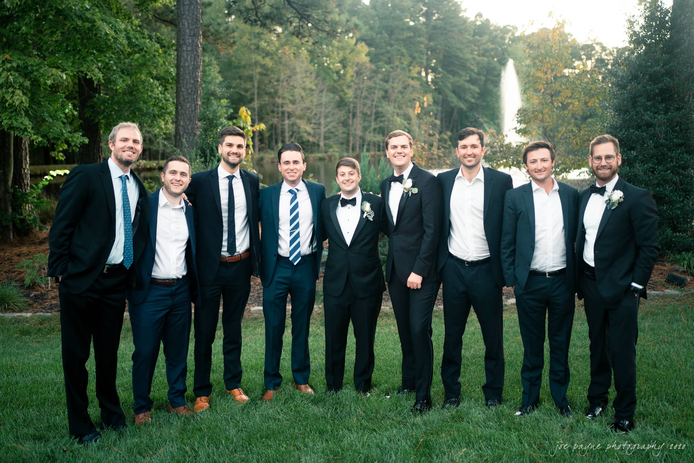 Pavilion at Angus Barn Wedding - groom and friends