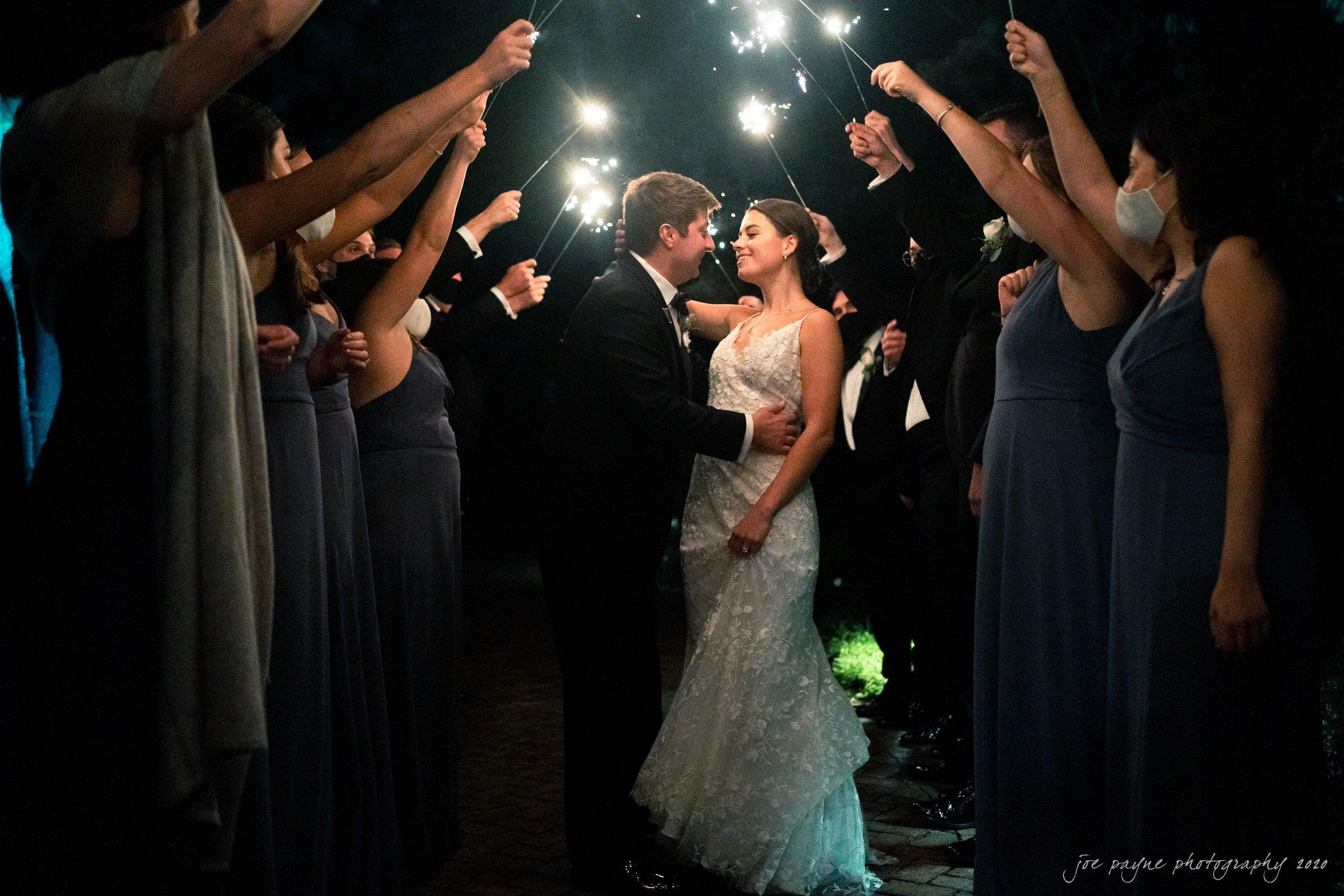 Pavilion at Angus Barn Wedding sparkler exit